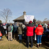 JAY YOUNG | THE GOSHEN NEWS<br /> Protesters gather around the gazebo at Celebration Park outside of the Greencroft Community Center on Friday to listen to speakers talk. About 100 people gathered at the park to protest a variety of issues while Congresswoman Jackie Walorski was speaking at a Chamber of Commerce luncheon inside the community center.