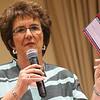 "JAY YOUNG | THE GOSHEN NEWS<br /> Congresswoman Jackie Walorski  holds up a ""postcard"" tax filing card as she speaks at a Goshen Chamber of Commerce luncheon held at Greencroft Community Center on Friday afternoon. The card was a demonstration of what filing income taxes will look like after promised tax code reforms."
