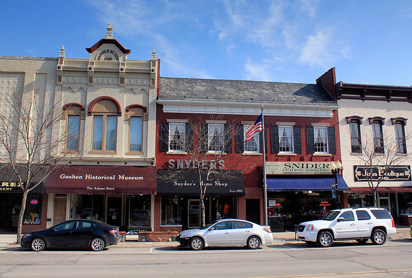 Roger Schneider | The Goshen News<br /> The historic buildings in downtown Goshen, like these stores in the 100 block of South Maint St., are considered a top asset for the central part of the city , according to a downtown action plan.
