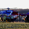 JAY YOUNG | THE GOSHEN NEWS<br /> Emergency workers load an accident victim into a Memorial MedFlight helicopter after a two-car head-on collision at the intersection of C.R. 38 and C.R. 9 on Wednesday afternoon.