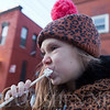 JAY YOUNG | THE GOSHEN NEWS<br /> Seven-year-old Ireland Hoggatt, of Middlebury, enjoys a roasted marshmallow during January's First Friday Fire and Ice event.