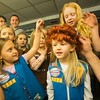 JAY YOUNG | THE GOSHEN NEWS<br /> Six-year-old Harper Glotzbach, center, checks herself out in a backstage mirror as she tries on a costume wig while others, including five-year-old Juno Brownewell, left, touch the wig Thursday evening at the Elkhart Civic Theater in Bristol. The girls, all members of Girl Scout Troop 50116, were touring the 120 year old theater to learn more about it.