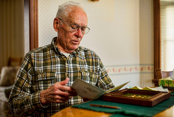 JAY YOUNG | THE GOSHEN NEWS<br /> Joe McCorkel is pictured in his home on Thursday morning. McCorkel has donated blood 200 times, giving 25 gallons of blood total.