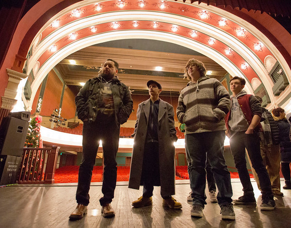 JAY YOUNG | THE GOSHEN NEWS<br /> From left, Johnny Arredondo, Jullian Arredondo, Joshua Dance and Chaynan Arredondo, all of Goshen, stand on the stage of the Goshen Theatre during a tour on Friday evening.