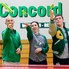 JAY YOUNG | THE GOSHEN NEWS<br /> From left, Tim Yoder, Cassie Cepeda and Quinn Miller toss paper airplanes as they aim for a shopping cart Tuesday afternoon at Concord High School.