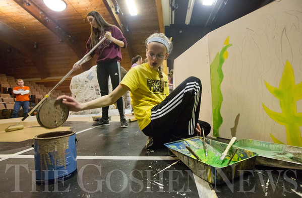 JAY YOUNG | THE GOSHEN NEWS<br /> Bethany Christian freshman Sasha Dyck reaches for more brown paint while freshman Emma Thomas uses a roller to paint the stage on Tuesday afternoon at Bethany Christian.