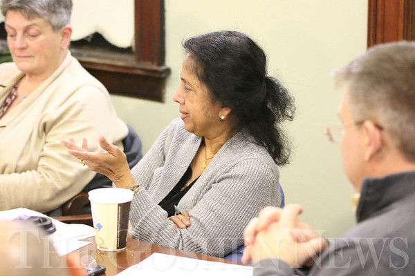 GEOFF LESAR | THE GOSHEN NEWS <br /> <br /> Goshen Community Relations Commission member Sreekala Rajagopalan suggests the creation of CRC magnets to further promote the commission's vision during a meeting Tuesday evening at City Hall.