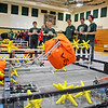 JOHN KLINE | THE GOSHEN NEWS<br /> Members of the Wawasee Community Schools robotics program, shown in green shirts, compete in the Iron Pride Starstruck Blended Spring Robotics Qualifier Tournament at Wawasee Middle School Saturday afternoon.