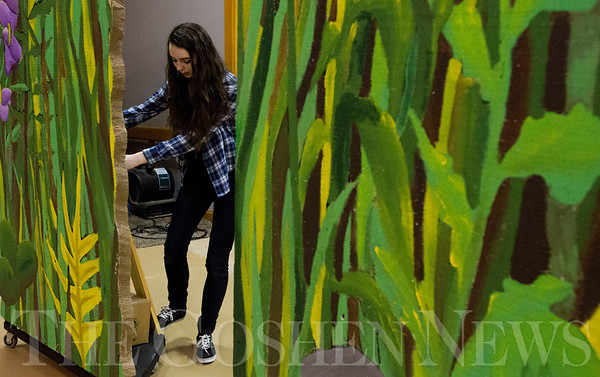 JAY YOUNG | THE GOSHEN NEWS<br /> Bethany Christian freshman Emma Thomas moves set pieces around the stage during her Technical Theater class on Wednesday morning. Students in the class are building a set for their spring production.