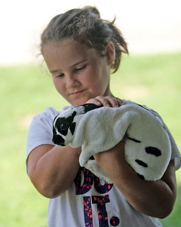 Roger Schneider | The Goshen News<br /> Aliyah Fry, 9,of LaGrange,  holds her miniature rex rabbit Saturday at the LaGrange County 4-H Fair.