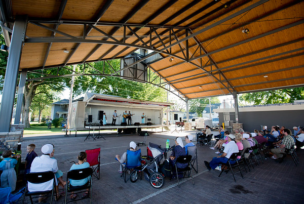 JAY YOUNG | THE GOSHEN NEWS<br /> Spectators gather for a free concert by the Allen Daviess Unit at the Pavilion in Nappanee Saturday evening. This past weekend marked the 11th annual Embrace the Pace days in Nappanee.