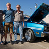 JAY YOUNG | THE GOSHEN NEWS<br /> Three generations, from left, Johnny Hurley II, Johnny Hurley III and Johnny Hurley senior, stand next to the car that Hurley II drove his son home from the hospital in. Tonight, during the First Fridays Cruisin' Reunion, Hurley III will get to drive the car for the first time.