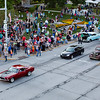 JAY YOUNG | THE GOSHEN NEWS<br /> Spectators line Main Street as old cars drive up and down the road during the July First Fridays Cruisin' Reunion Friday evening in downtown Goshen.