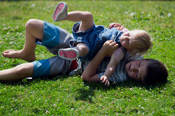 JAY YOUNG | THE GOSHEN NEWS<br /> Six-year-old Kingston Korenstra teaches his 1-year-old sister Harper, both of Osceola, how to roll down a hill Thursday afternoon at Shanklin Park.