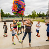 JAY YOUNG | THE GOSHEN NEWS<br /> Ten-year-old Mary Smucker, of Goshen, takes a big swing at a piñata made from a balloon and paper mache Friday morning during the BrightTime Camp at Bethany Christian.