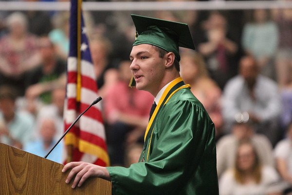 ADAM RANDALL | THE GOSHEN NEWS<br /> Wawasee High School valedictorian Evan Krueger addresses the graduating class.