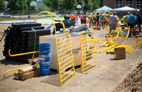 JAY YOUNG | THE GOSHEN NEWS<br /> New playground equipment at Parkside Elementary School waits to be assembled Thursday afternoon.