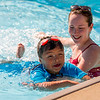 JAY YOUNG | THE GOSHEN NEWS<br /> Swimming instructor Natalie Hetler helps keep six-year-old Francisco Sanchez, of Ligonier, afloat on the first day of Goshen Parks and Recreation department swimming classes at Shanklin Pool Monday morning. The classes run for two weeks, Monday through Friday, beginning at 9:30 a.m. Those interested should contact the parks and recreation department.