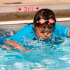 JAY YOUNG | THE GOSHEN NEWS<br /> Six-year-old Francisco Sanchez, of Ligonier, holds his breath as he pushes off from the side of the pool on the first day of Goshen Parks and Recreation department swimming classes at Shanklin Pool Monday morning. The classes run for two weeks, Monday through Friday, beginning at 9:30 a.m. Those interested should contact the parks and recreation department.