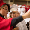 JAY YOUNG | THE GOSHEN NEWS<br /> Goshen High School graduating seniors Nathan Mayorga-Galeano and Anabel Campos pose for a selfie together during the 2017 commencement ceremony Sunday afternoon.
