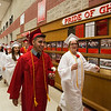 JAY YOUNG | THE GOSHEN NEWS<br /> A procession of Goshen High School graduating seniors makes its way through the hallways toward the gymnasium to start the 2017 commencement ceremony Sunday afternoon.