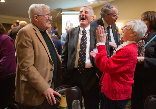 JAY YOUNG | THE GOSHEN NEWS<br /> From left, John Frizzo, Shannon White and Florann White all share a laugh as they chat during the Elkhart Rotary Club's 100th anniversary celebration on Monday afternoon at the Matterhorn Restaurant in Elkhart.