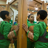 JAY YOUNG | THE GOSHEN NEWS<br /> Dressed as a teenage mutant ninja turtle,  Concord South Side first-grader Isaiah Williams looks himself over in a mirror during Ability Day at the school.