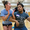 JAY YOUNG | THE GOSHEN NEWS<br /> Goshen High senior Kayleigh Crowder cheers while dancing with sophomore Spencer Witmer during the Champions Together carnival at Goshen High School on Friday night.