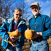 JAY YOUNG | THE GOSHEN NEWS<br /> Lois and John Nafziger hold two of the six chickens they raise at their home Wednesday, March 22, 2017. The Nafzigers have raised chickens at his home since 2014, when the city of Goshen passed an ordinance allowing residents to raise chickens within the city limits.