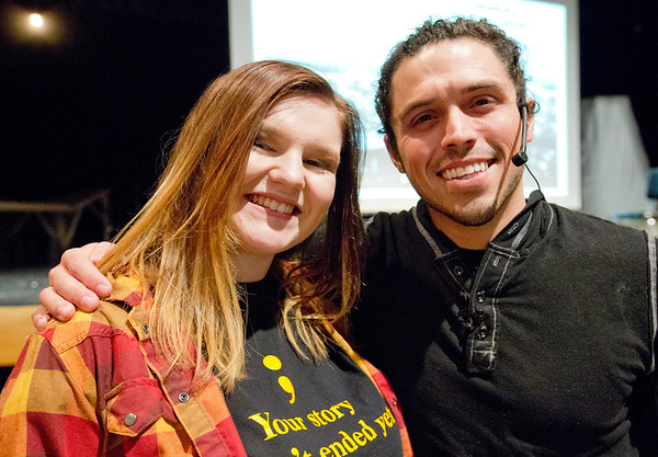 JAY YOUNG | THE GOSHEN NEWS<br /> Shirley Jones and Nathan Harmon are photographed together after a Suicide Prevention convocation at Fairfield High School Thursday afternoon.    Harmon was the featured speaker at the event that Jones helped to organize and bring to Fairfield