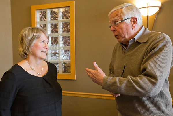JAY YOUNG | THE GOSHEN NEWS<br /> Jeff Wells and Dawn Fisher chat during the Big Sister of the year open house Thursday evening in Elkhart.