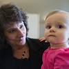 JAY YOUNG | THE GOSHEN NEWS<br /> Karla Copenhaven stops for a picture with one-year-old Claire Lochmandy.