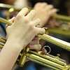 JAY YOUNG | THE GOSHEN NEWS<br /> Forchel Francis fingers notes on the trumpet during band class Wednesday morning at Pierre Moran Middle School in Elkhart.