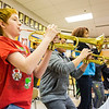 JAY YOUNG | THE GOSHEN NEWS<br /> Forchel Francis plays a trumpet during band class Wednesday morning at Pierre Moran Middle School in Elkhart.