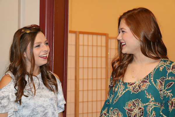 SHERRY VAN ARSDALL | THE GOSHEN NEWS At left, Kiersten Miller and Anna Pickett particpated in the Lovely & Bold charity fashion show and labor auction at the Goshen Theater Saturday.