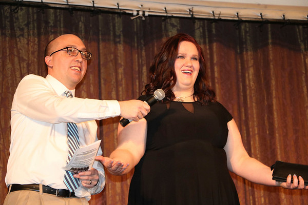 SHERRY VAN ARSDALL | THE GOSHEN NEWS At left, Carl Yoder and Addie Findley particpated in the Lovely & Bold charity fashion show and labor auction at the Goshen Theater Saturday.