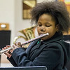 JAY YOUNG | THE GOSHEN NEWS<br /> Damonic Paul concentrates on playing her flute during band class Wednesday morning at Pierre Moran Middle School in Elkhart.