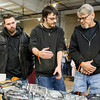 JAY YOUNG | THE GOSHEN NEWS<br /> From left, Darrell Wolfe, Jacob Bowen and Dennis Bowen discuss motorcycle parts at the Abate of Indiana's 32nd annual Region One Elkhart County Swap Meet on Sunday morning at the Northern Indiana Event Center in Elkhart.