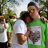 JAY YOUNG | THE GOSHEN NEWS<br /> Dahjahnay Ware, of Elkhart, hugs Dalton Igoe, of Altoona, Pennsylvania, Tuesday afternoon at the spot where her sister, Da'jeianna, was killed in 2012 after being struck by a vehicle on C.R. 108 in Elkhart. Igoe, who suffered from heart problems since birth, received Da'jeianna's heart as a result of the accident. This is his first time visiting Elkhart and the site where Da'jeianna lost her life.