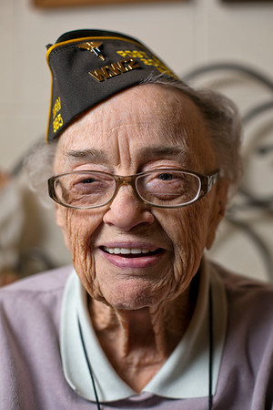 JAY YOUNG | THE GOSHEN NEWS<br /> Ninety-five-year-old World War II veteran Myrtle Huber is the grand marshal for this year's Memorial Day parade.