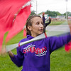 JAY YOUNG | THE GOSHEN NEWS<br /> Seventh-grader and member of the GHS band color guard Cadence Mast practices her routine Thursday evening for the GHS band's upcoming performance in the Indianapolis 500 parade.
