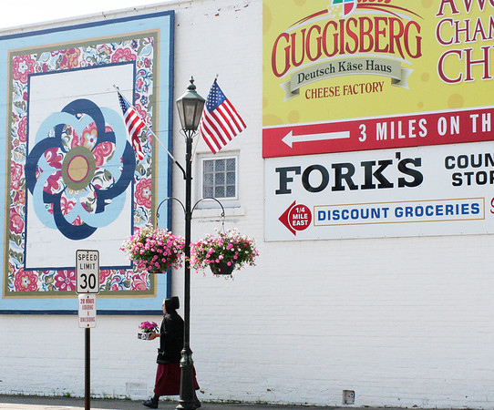 SHEILA SELMAN | THE GOSHEN NEWS<br /> Quilt murals, like the one on the side ofa building at the corner of Ind. 13 and C.R. 16 can be spotted on the walking tour.