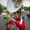 JAY YOUNG | THE GOSHEN NEWS<br /> Goshen High School junior tuba player Andrew Calvillo practices Thursday evening for the GHS band's upcoming performance in the Indianapolis 500 parade.