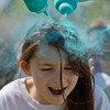 JAY YOUNG | THE GOSHEN NEWS<br /> Fourth-grader Yoselin Contreras get her hair covered in blue powder.