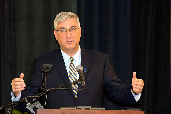 SHEILA SELMAN | THE GOSHEN NEWS<br /> Indiana Gov. Eric Holcomb speaks to RV industry leaders during the fifth annual RV Power Breakfast Thursday morning at the Northern Indiana Event Center in Elkhart.