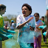 JAY YOUNG | THE GOSHEN NEWS<br /> Fifth-grader Shemaya Magatti makes a face while getting blasted with blue powder.