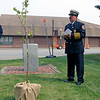 ADAM RANDALL | THE GOSHEN NEWS<br /> Goshen Fire Chief Dan Sink remembers 9/11 during a ceremony Monday afternoon at the Goshen Central Fire Station.