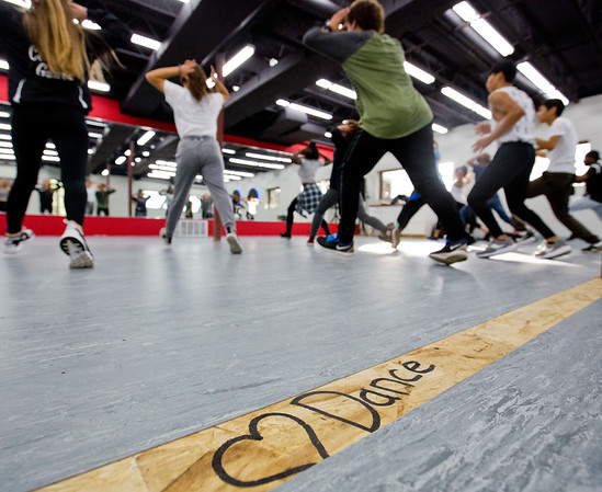 JAY YOUNG | THE GOSHEN NEWS<br /> Dancers work on a routine during a hip hop dance class Wednesday evening at Epic Dance Studios.
