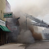 JAY YOUNG | THE GOSHEN NEWS<br /> The Family Dollar store in downtown LaGrange collapses Tuesday afternoon during a large fire.