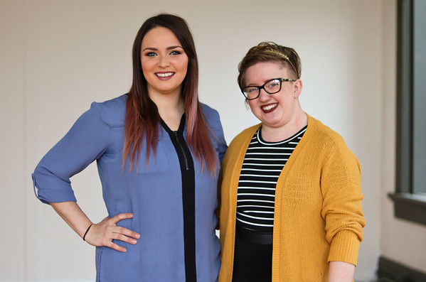 "LEANDRA BEABOUT | THE GOSHEN NEWS<br /> Robin McLain of Robin Crystal Photography and Kaitlin Hart of Hartistry Makeup Studio stand inside their new shared studio space at 118 E. Washington St., which they refer to as ""Studio Above the Brew."""